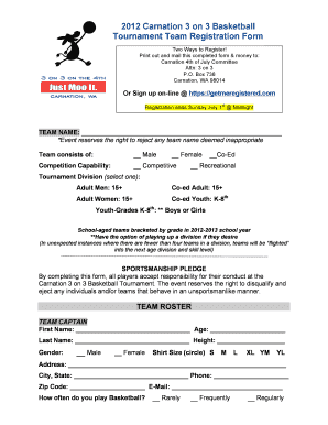 Editable 3 On 3 Basketball Tournament Registration Form