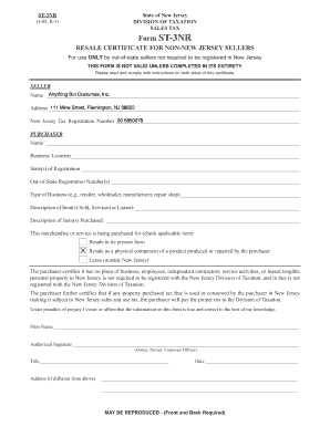 Fillable Online Non New Jersey Sales Tax Exemption Form - Anything ...