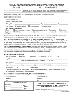 Cigarette Permit Application - Fremont County Iowa - cityofjeffersoniowa