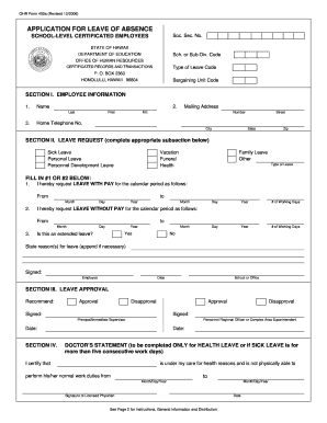 Application For Leave Of Absence Hawaii Doe  Application For Leave Form