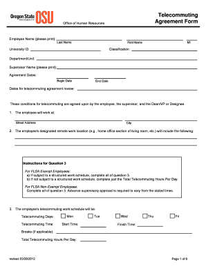Oregon State University Teleworking Fill Online Printable - Telecommuting agreement template