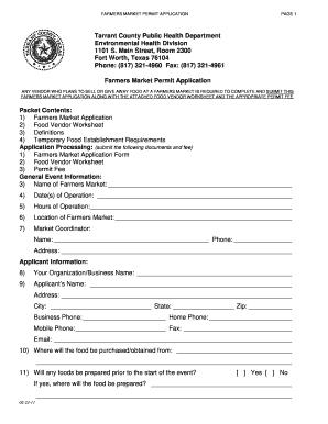 Tarrant County Health Department Temporary Food Permit