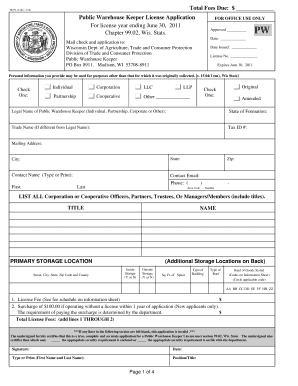 Public Warehouse Keeper Information Sheet - Wisconsin ... - datcp wi