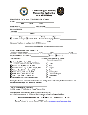 American Legion Auxiliary Membership Application www. ALR1340 ... - alr1340