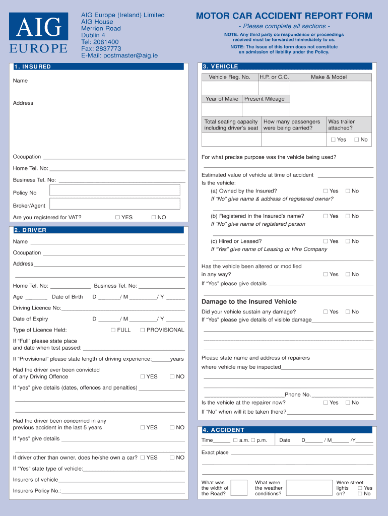 Aig Auto Insurance >> Aig Insurance Auto Fill Online Printable Fillable Blank