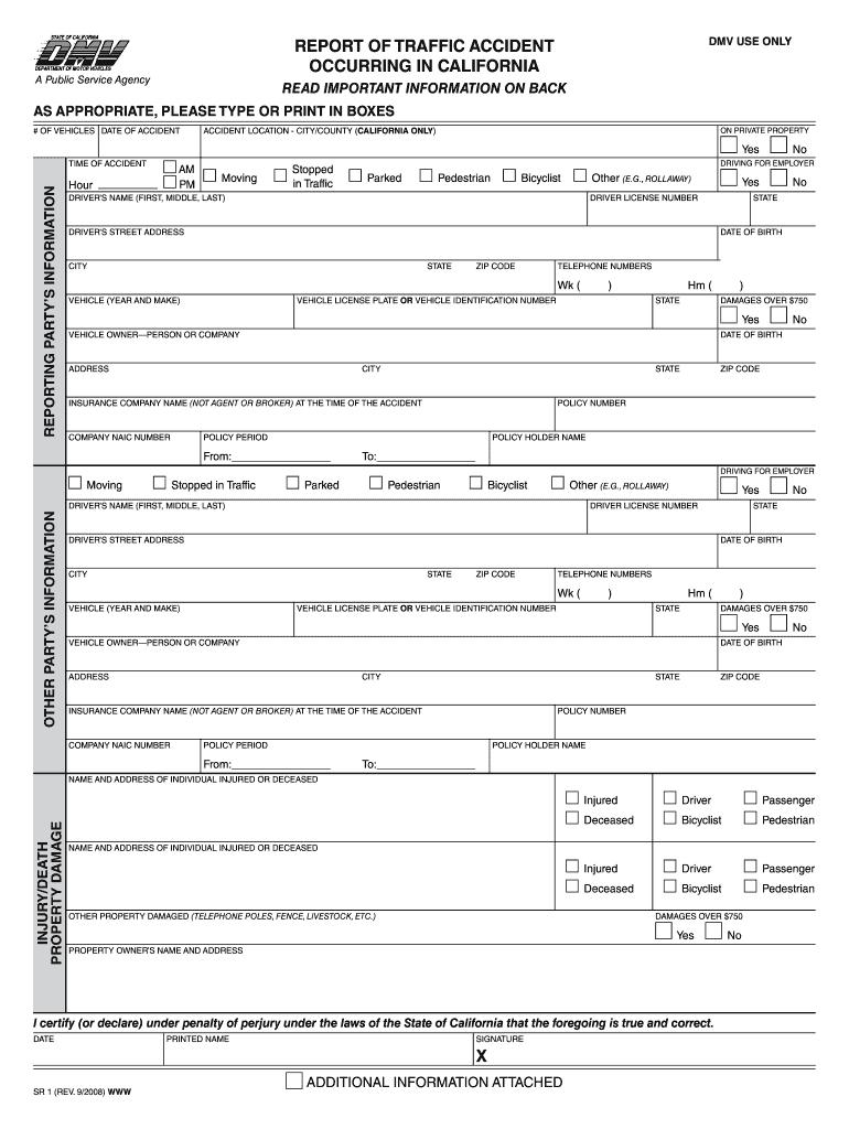 2008-2019 CA DMV Form SR 1 Fill Online, Printable