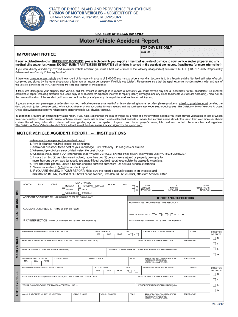 Ri Accident Report - Fill Online, Printable, Fillable, Blank