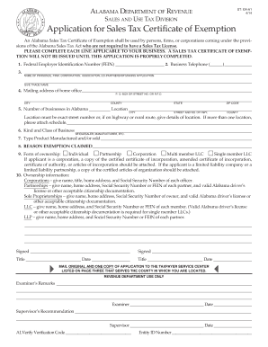 Alabama Tax Exemption Form Ex A1 - Fill Online, Printable ...