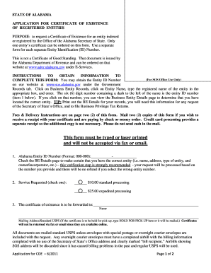 alabama certificate of existence Alabama Certificate Of Existence - Fill Online, Printable, Fillable ...