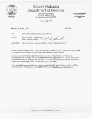 County Memos From The Alabama Department Of Revenue Motor Vehicle