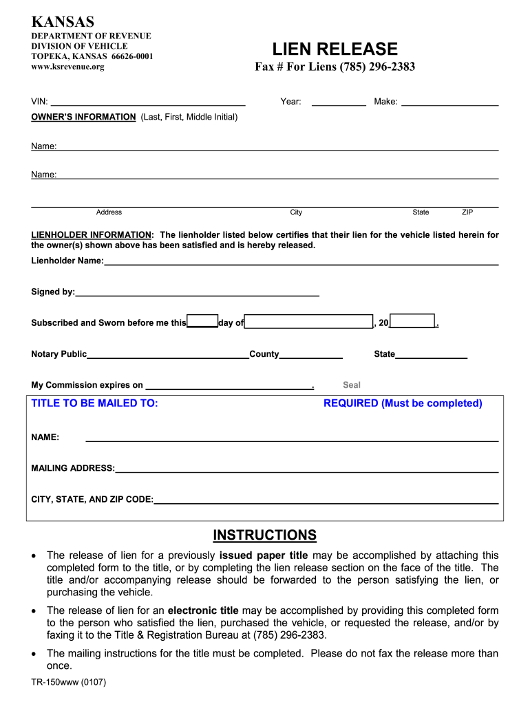 Kansas Lien Release - Fill Online, Printable, Fillable