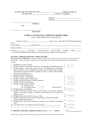 Financial Affidavit Short Form Online Fillable - Fill Online ...