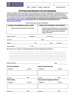 Sfsu Retroactive Withdrawal - Fill Online, Printable, Fillable ...