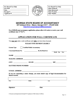 State Of Georgia Wall Certificates - Fill Online, Printable