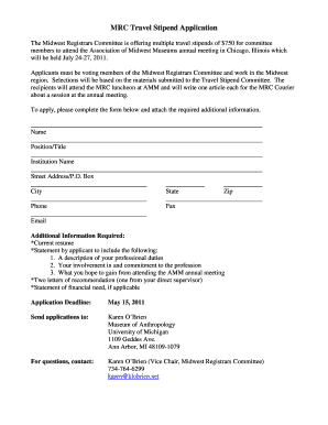 MRC Travel Stipend Application - midwestmuseums