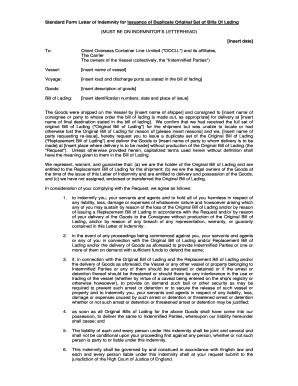 standard form letter  Standard Form Letter Of Indemnity Indemnitor Letterhead ...