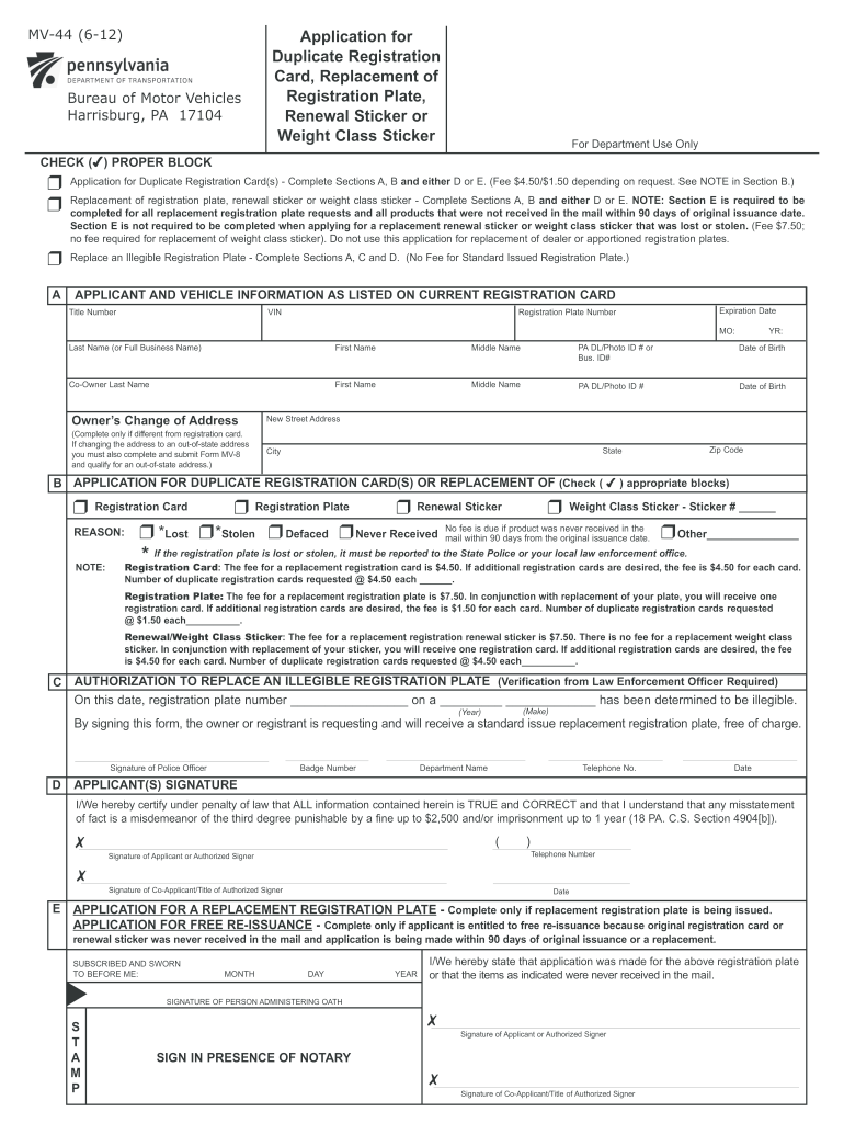 2012 Form PA MV-44 Fill Online, Printable, Fillable, Blank