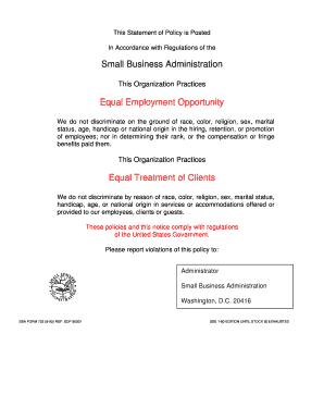 Sba Form Fill Online Printable Fillable Blank PDFfiller - Employee handbook template washington state