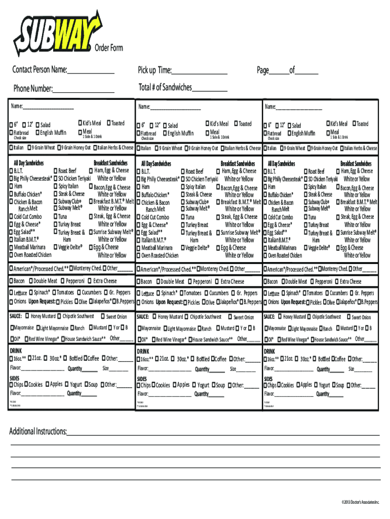 graphic about Printable Subway Menu titled Subway Type - Fill On the net, Printable, Fillable, Blank