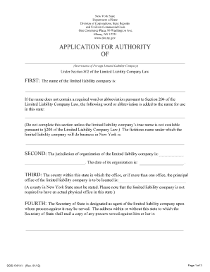 Authority Application - Fill Online, Printable, Fillable ...