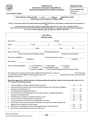 8a business development application fillable form