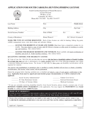 Sc hunting license for seniors fill online printable for Louisiana lifetime fishing license