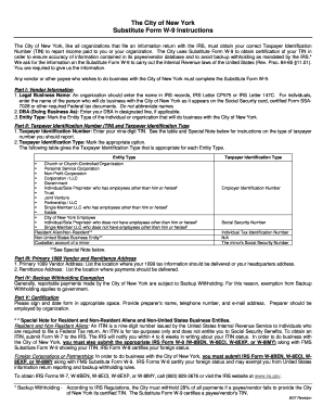 City Of New York Substitute Form W 9 Instructions - Fill Online ...