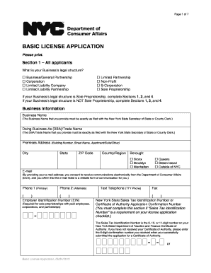 nyc basic license application form