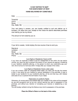 14 Day Notice Form