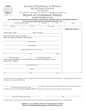 alabama unclaimed vehicle report