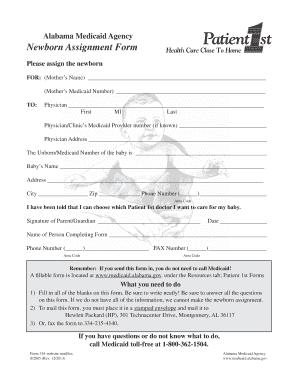 Alabama Medicaid Newborn Assignment Form - Fill Online, Printable ...