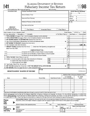 State Of Alabama Fiduciary Income Tax Return Form - Fill