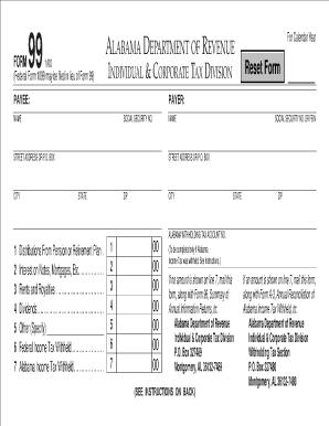 Al Dept Of Revenue Reporting 1099 Form 99 - Fill Online ...