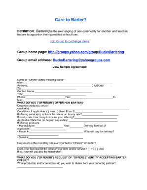Bartering Agreement - Fill Online, Printable, Fillable, Blank ...