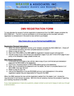 Vehicle Registration Renewal Ca >> Dmv Form Reg 5085 - Fill Online, Printable, Fillable ...