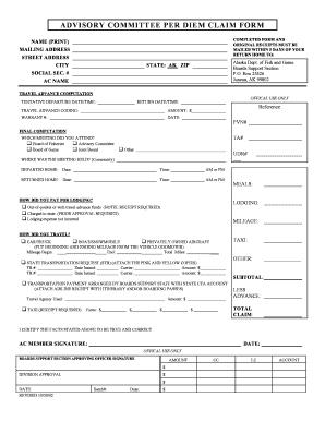 Per Diem Form - Fill Online, Printable, Fillable, Blank   PDFfiller