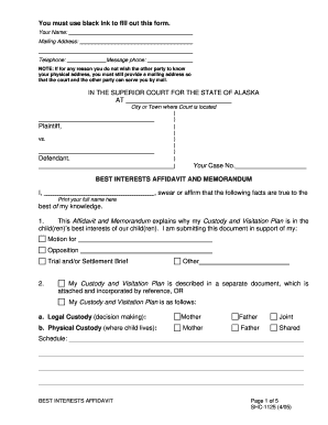 affidavit of best interest format