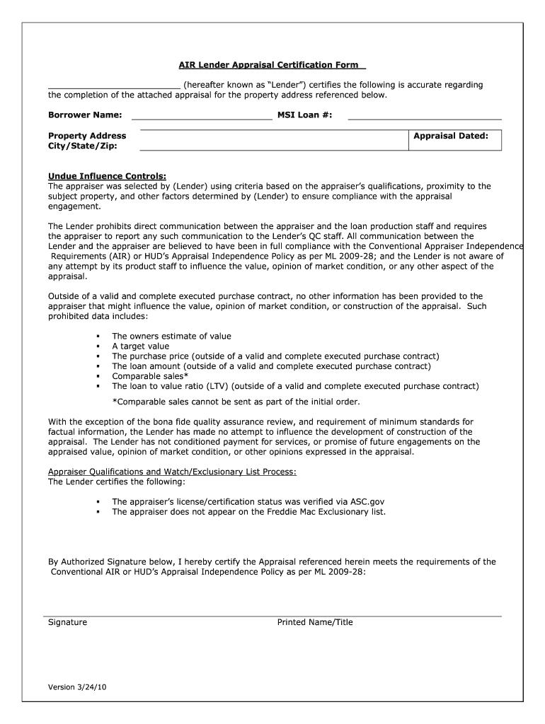 certification air form appraisal pdffiller