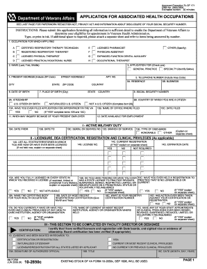 va form 10 2850c fillable