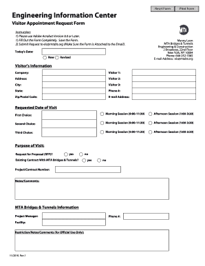 Fillable Online mta Visitor Appointment Request Form - mta Fax Email ...