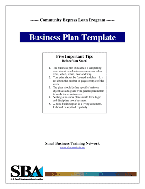 Sba business plan template fillable form