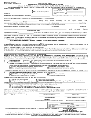 nj affidavit of consideration Bill Of Sale Form New Jersey Affidavit Of Consideration For Use By ...