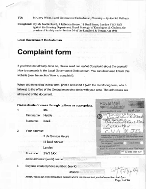 Editable sample complaint letter for corruption - Fill, Print