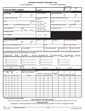 Attending provider treatment plan fillable form