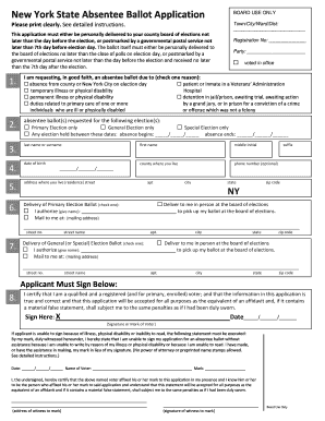New York State Absentee Ballot Application Fillable - Fill Online ...