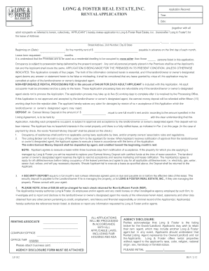 long and foster rental application form