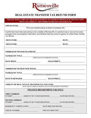 Real Estate Transfer Tax Refund Form (PDF) - Village of Romeoville - romeoville