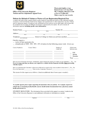 registrars office mizzou refund appeal form