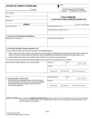 north carolina summons form