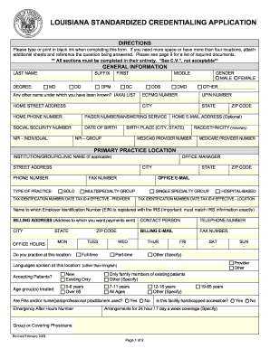 louisiana credentialing application form